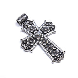 SS Oxidized Large Floral Cross Pendant