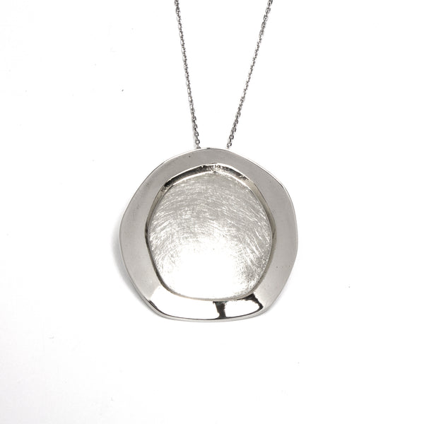 SS Brushed & Polished Round 2 Layer Necklace