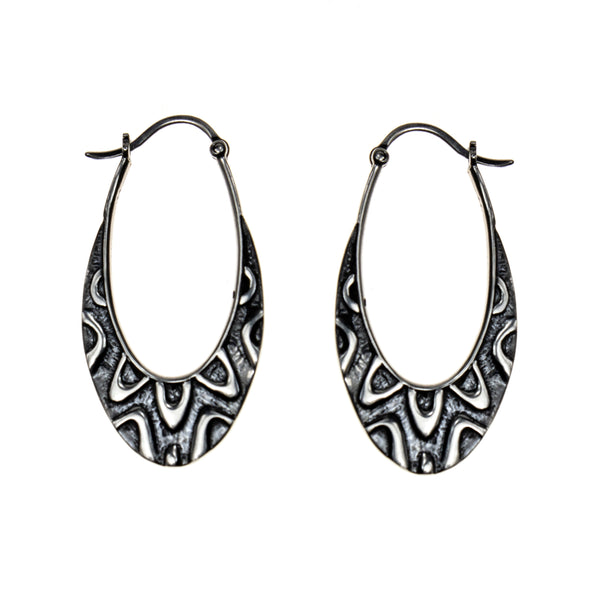 Sterling Silver Oxidized Ovals Etched Hoop Earrings