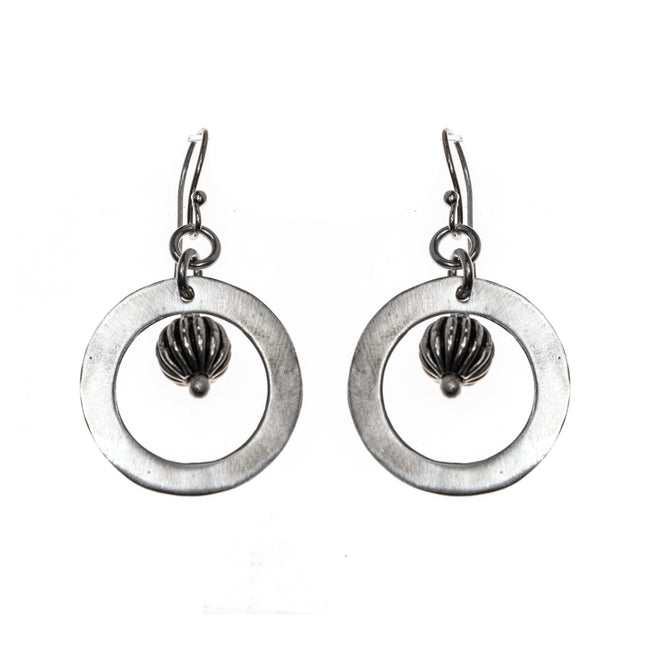 Sterling Silver Etched Bead Circle Dangle Earrings