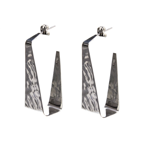 Hammered Sterling Silver Triangle Block Post Earrings