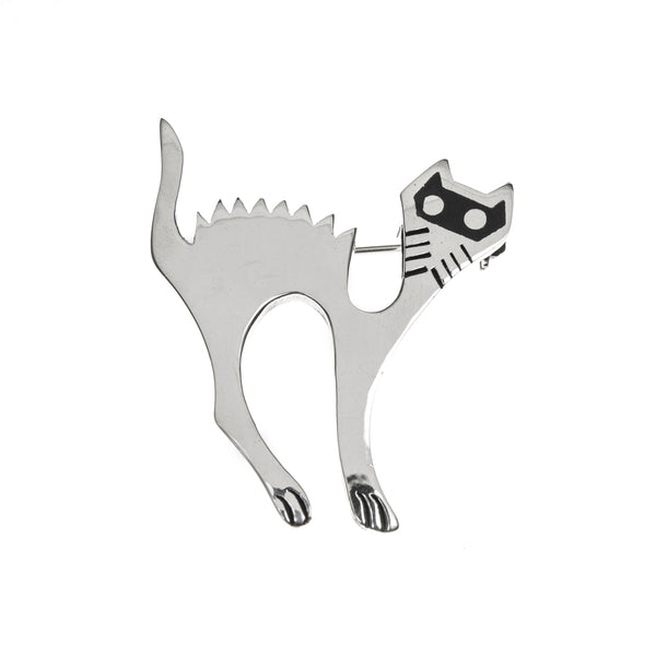 Sterling Silver Scaredy Cat Pin