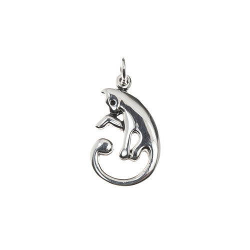 Sterling Silver Curled Cat Necklace