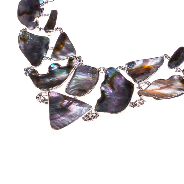 Sterling Silver Abalone Link Collar Necklace