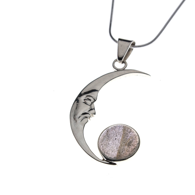 Sterling Silver Labradorite Crescent Moon Necklace
