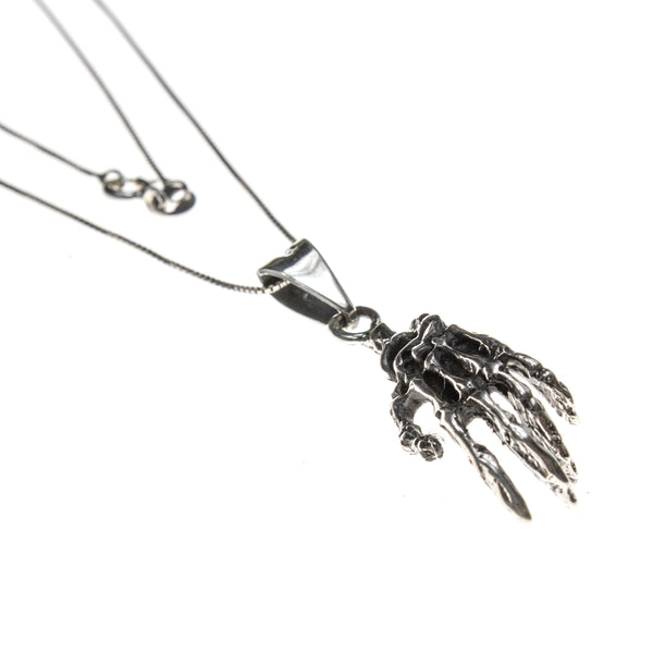 Sterling Silver Hand Bones Necklace