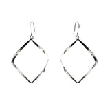 Sterling Silver Wavy Hammered Square Dangle Earrings