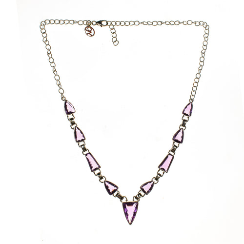 Sterling Silver 9 Faceted Amethyst Necklace