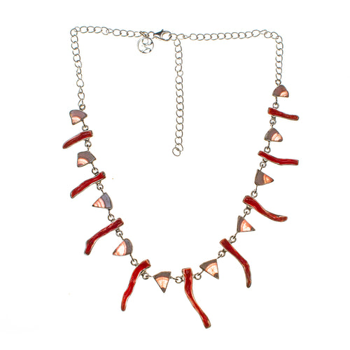 Sterling Silver Stick Coral and Rhodochrosite Necklace