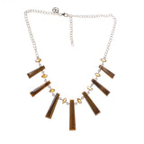 Sterling Silver Tiger Eye Rectangle Citrine Marquise Necklace