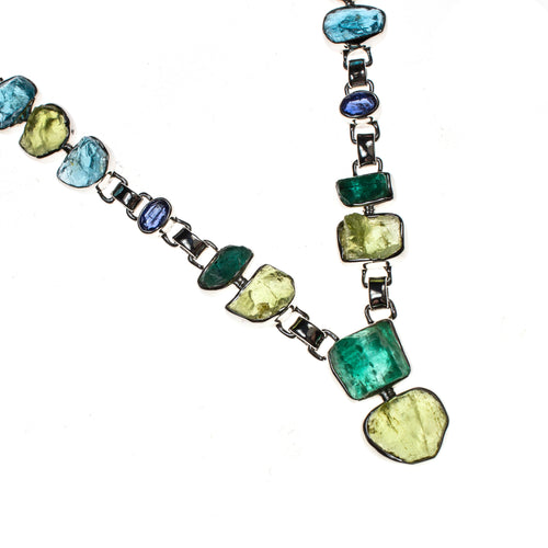 Sterling Silver Peridot Apatite Tourmaline and Iolite Necklace
