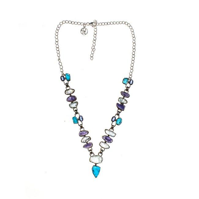 Sterling Silver Aquamarine Apatite and Tanzanite Bezel Necklace
