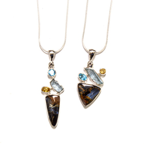 SS Pietersite, Blue Topaz, Aquamarine, & Citrine Necklaces