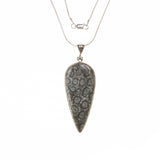 Sterling Silver Fossilized Coral Drop Necklace