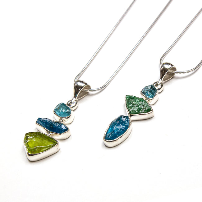 SS Peridot, Blue Topaz, Apatite, Kyanite & Chromium Diopside Assorted Necklaces