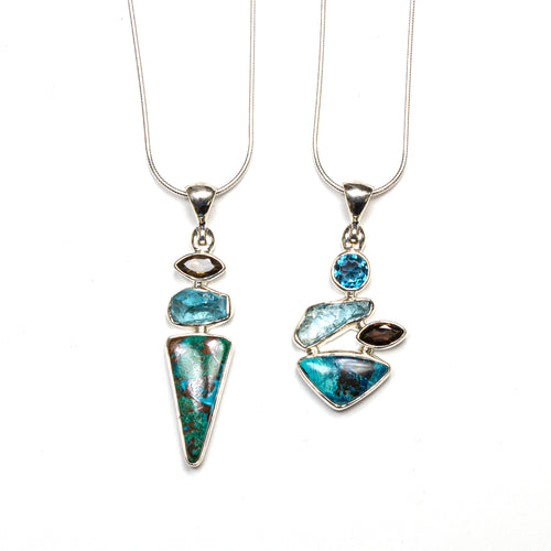 SS Chrysocolla, London Blue Topaz, Apatite, & Smokey Quartz Necklaces