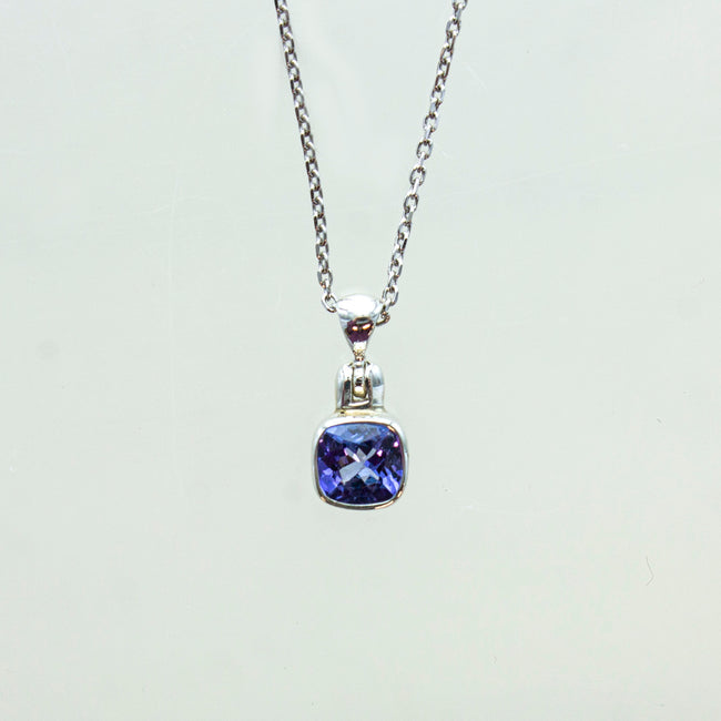 SS Small Square Tanzanite Bezel Necklace