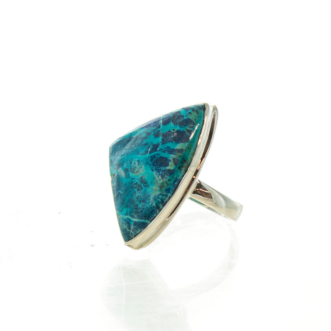 SS Chrysocolla Triangle Ring (Size 8)