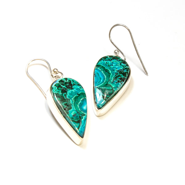SS Chrysocolla Pear Bezel Dangle Earrings