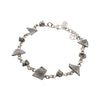 Sterling Silver Meteorite and Pyrite Link Bracelet