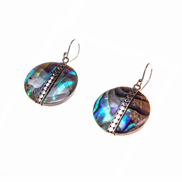 Sterling Silver Abalone Bead Earrings