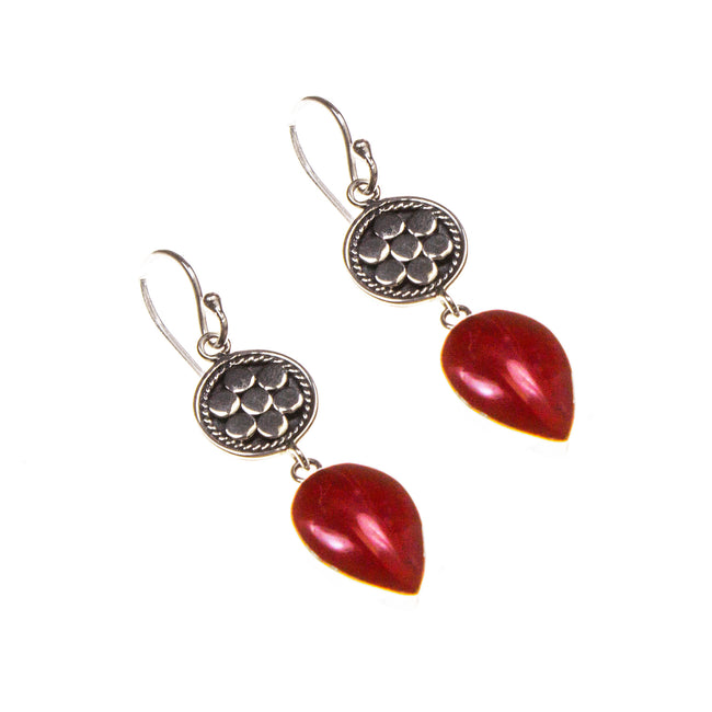 Sterling Silver Floral Coral Pear Earrings