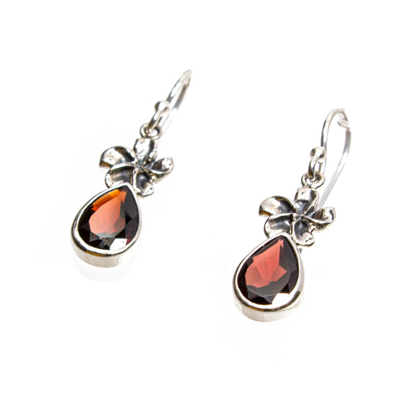 SS Garnet Pear Flower Dangle Earring