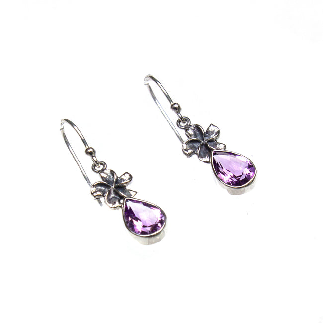 SS Flower & Amethyst Pear Earrings