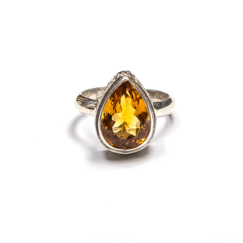 SS Citrine Pear w/ Filigree Sides Ring Size 7.25