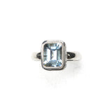 SS Rectangle Blue Topaz Swirling Scrollwork Ring (Size 7)