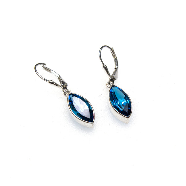 SS Blue Topaz Marquis Lever Back Earrings