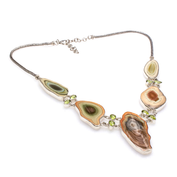 SS Peridot and Petrified Wood Bezel Necklace