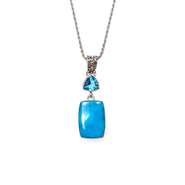 SS Blue Topaz Trillion and Rectangle Turquoise Scroll Pendant/Necklace