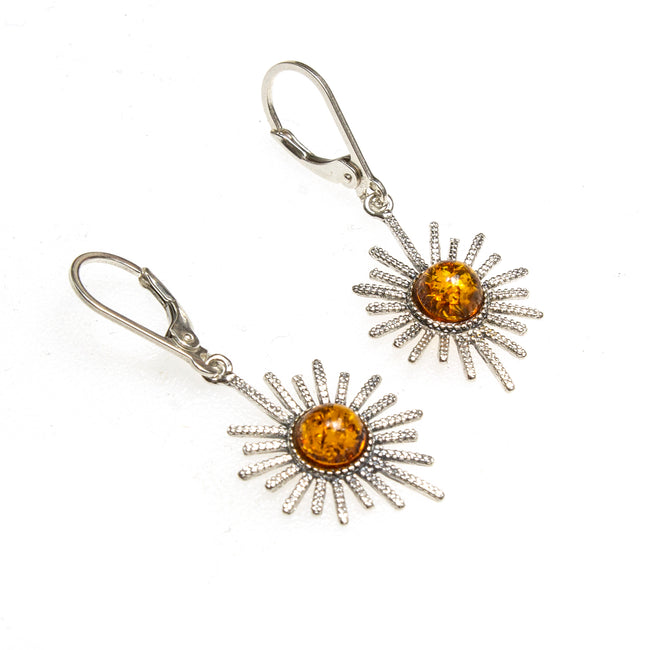 SS Amber Sunburst Earrings