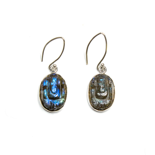 SS Carved Labradorite Earrings