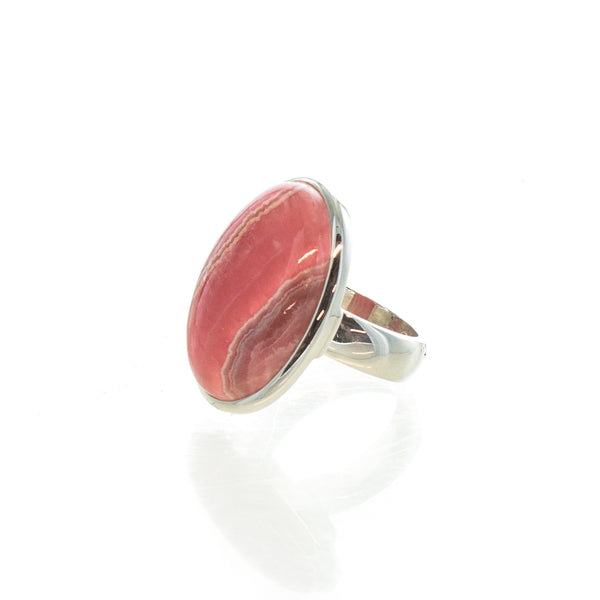 SS Adjustable Rhodochrosite Oval Cabochon Ring