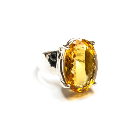 SS Faceted Citrine Square Earrings