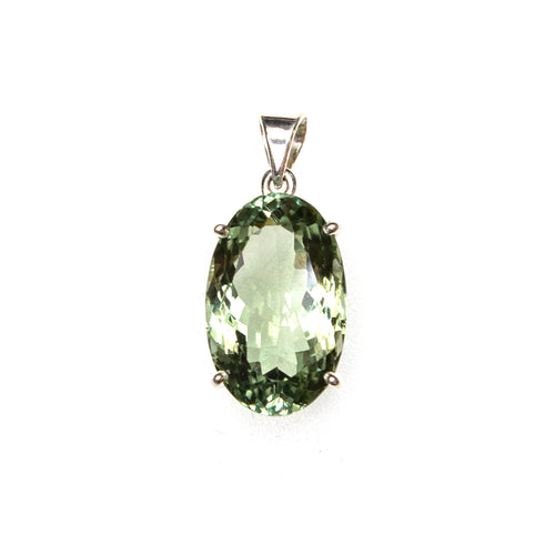 SS 15x25mm Green Amethyst Prong Pendant