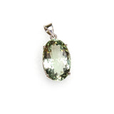 SS Faceted Green Amethyst Prong Pendant