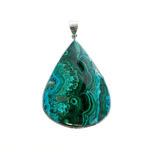 SS Large Chrysocolla Pear Pendant