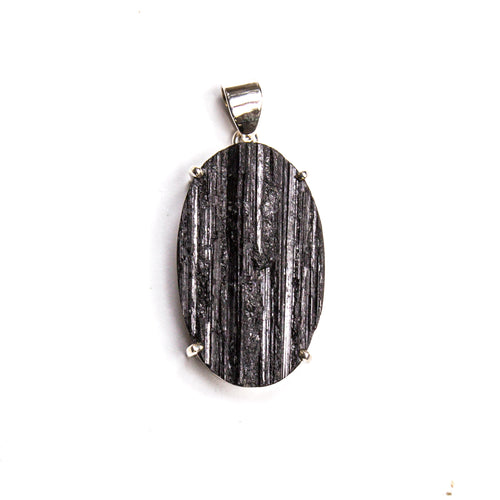 SS Rough Black Tourmaline Prong Pendant