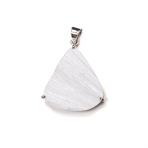 SS Selenite Triangle Prong Pendant