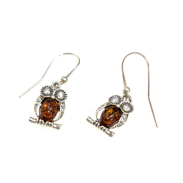 SS Amber Crystal-eyed Owl on Branch Earrings