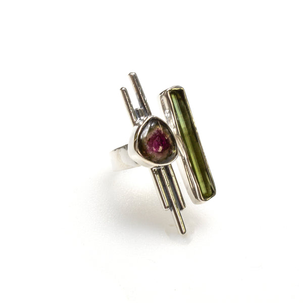 SS Modern Watermelon and Bar Tourmaline Ring