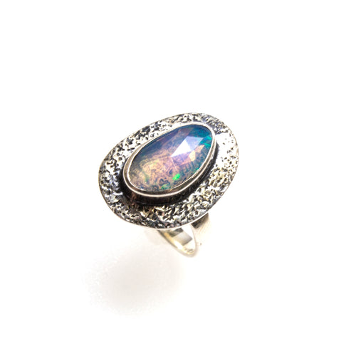 SS Faceted Opal Hammered Ring Size 7