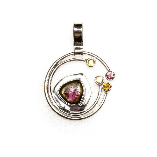 SS Watermelon Tourmaline Orbit Pendant