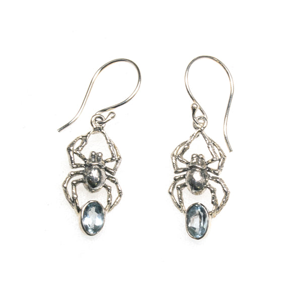 SS Blue Topaz Spider Earrings
