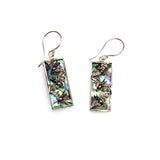 SS Abalone Bat Rectangle Earrings
