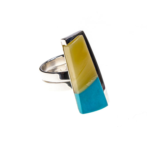 SS Butterscotch Amber and Turquoise Inlay Adjustable Ring