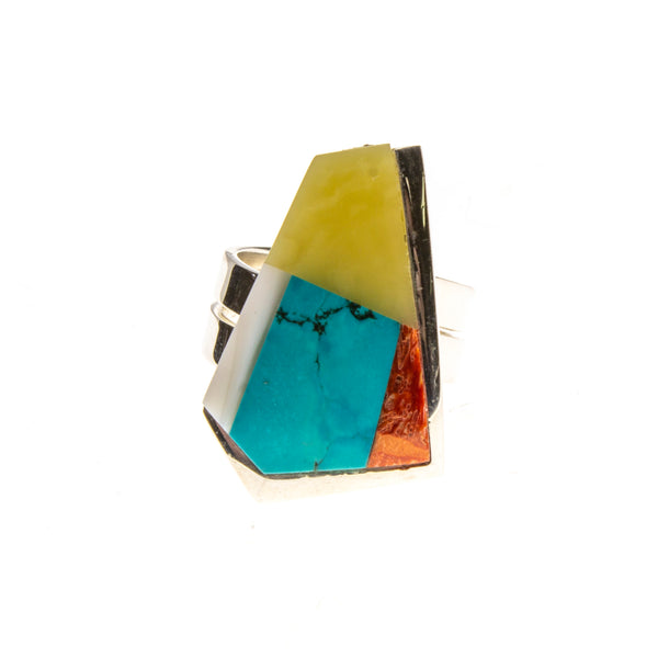 SS Amber, Turquoise, Coral, and Shell Inlay Adjustable Ring